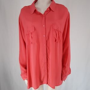 4/$40 A.n.a | Pocket Button Up Rayon Blouse Top
